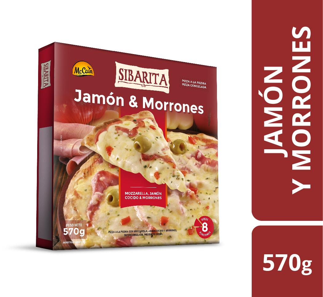 Pizza de Jamón y Morrones 570g